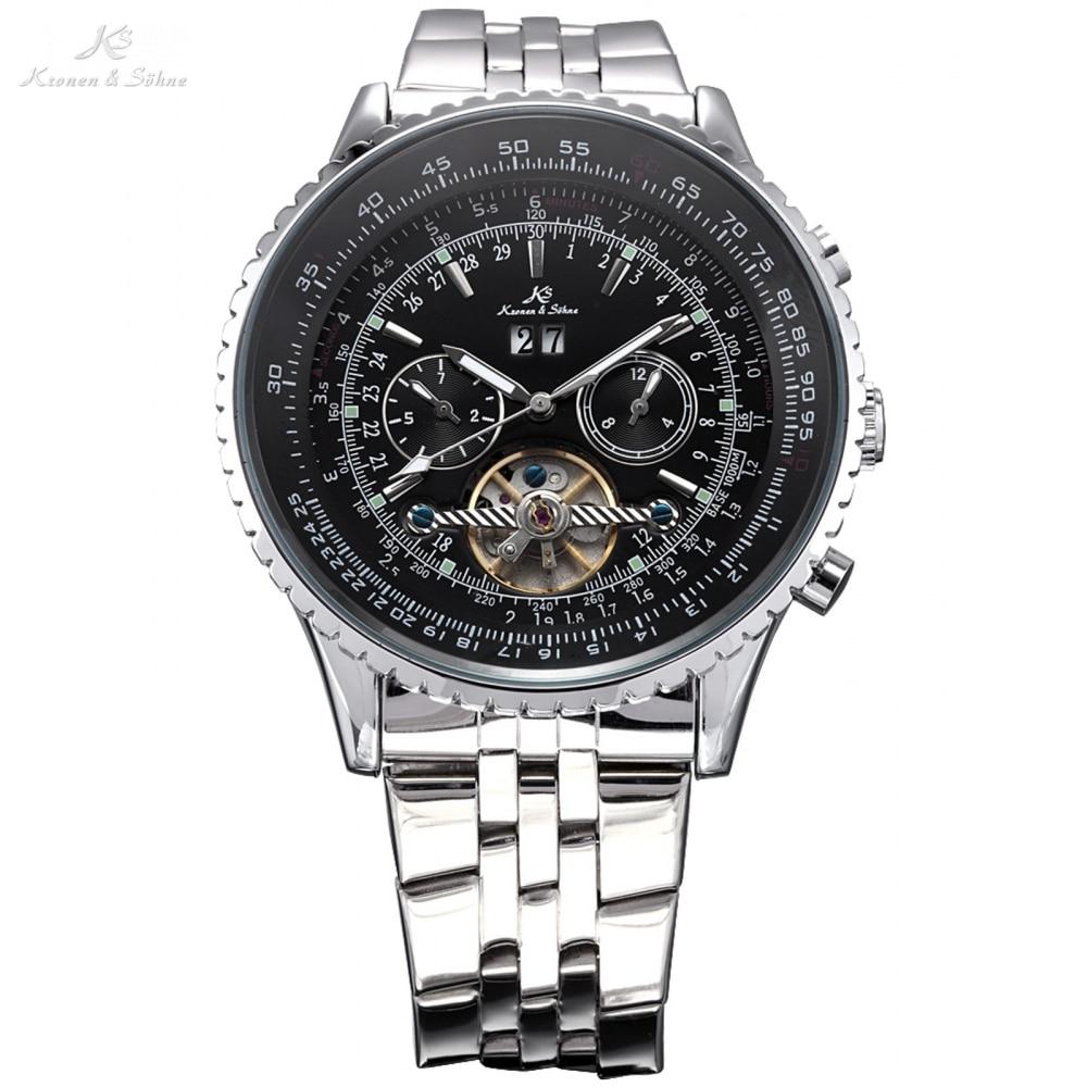 Kronen&Sohne Black Dial 6 Hands Date Day Luxury Tourbillion Analog Auto Mechanical Sport Watch