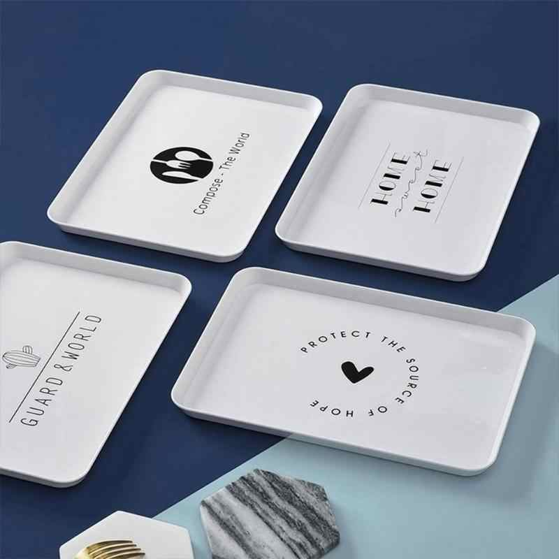 Nordic Style Plastik Makanan Penutup Melayani Nampan Teh Sarapan Roti Piring Makanan Ringan Penyimpanan Piring Persegi Aksesoris Kosmetik Hidangan Baru