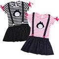 2016 Toddler Princess Summer Kids Dresses for Girls Baby Girls Clothes Short Sleeve Striped Dress Girls Polka dots Dress