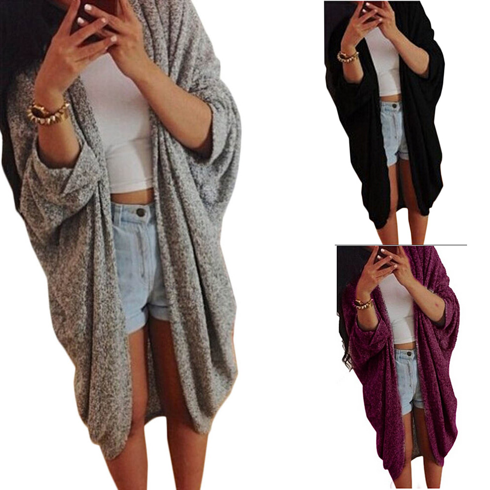 2017 New Autumn Winter Sweaters Casual Women Fashion Cardigan Bat Sleeve Long Knitted Sweater Femininas Knitting Coat