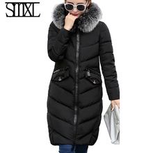 smxl Ultra Warm new down jackets Snow winter white duck down solid x-long Warm Outerwear female coats Fur Collar Parkas Luxury