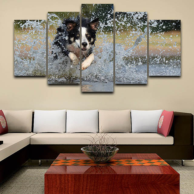 . Living Room HD Printed Modern Painting Wall Art 5 Panel Running Dog Modular  Picture Home Decoration Poster Framework On Canvas