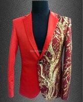 2015 Men Plus Size Red Slim Blazer Male Singer Dj Gd Paillette Design Costume Suit Top
