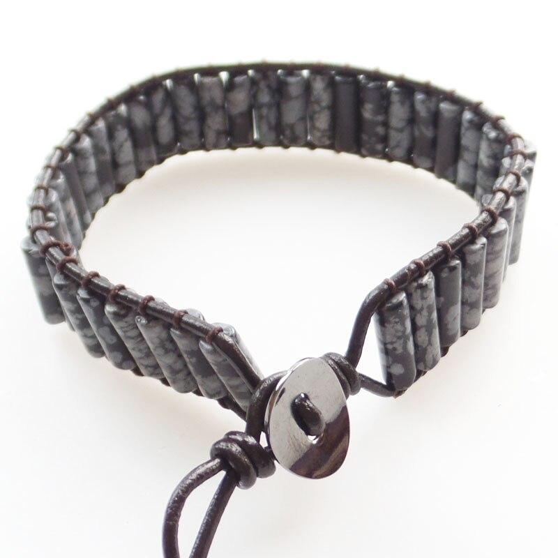 (Min.order 10$ mix) A Strand 13x5mm Snowflake Obsidian Column Beads Wrap Leather Adjustable Bracelet 7.5 inch SHX1324