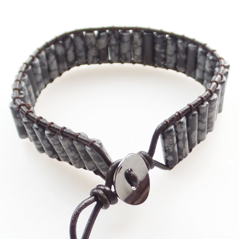 (Min.order 10$ mix) A Strand 13x5mm Snowflake Obsidian Column Beads Wrap Leather Adjustable Bracelet 7.5 inch SHX1324