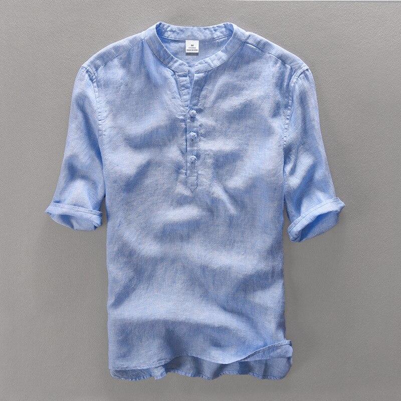 100 Linen Short Sleeve Casual Shirt Men Big Size Easygoing Breathable Summer Men Shirt Linen Linho