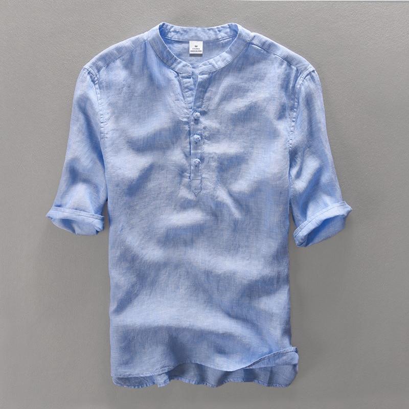 100 % 리넨 반소매 캐주얼 셔츠 남성용 캐주얼 셔츠 큰 사이즈 편안한 통기성 여름 남성 셔츠 린넨 linho camisa masculina 망 셔츠