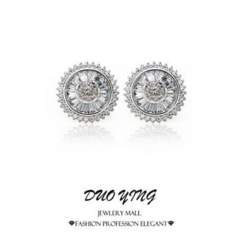 New Korean Style Brincos Ouro Little Round Hearts And Arrows White Gold Cubic Zirconia cc Stud Earrings For Women