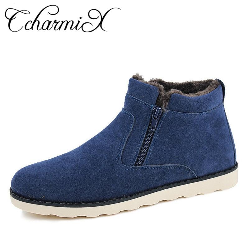 CcharmiX Große Größe Männer Schuhe Top Qualität Winter Casual Herren Stiefeletten Warme Günstige Unisex Zipper Stiefel Leder Schnee Stiefel männlichen