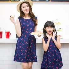 Fashion Summer Style Family Matching Outfits Mother And Daughter Sleeveless Print Mini Tutu Dress