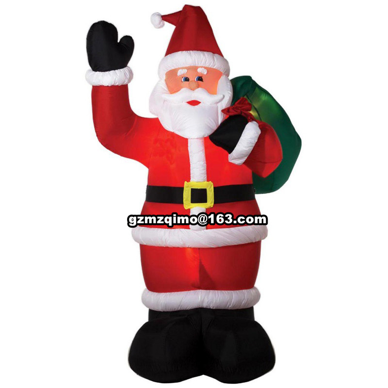 1.8m Christmas Show Costumes Inflatable Santa Claus backpack Xmas Decor Costume Jumpsuit Mounts Santa Claus Clothes Props santa claus mascot costume christmas cosplay mascot costume free shipping