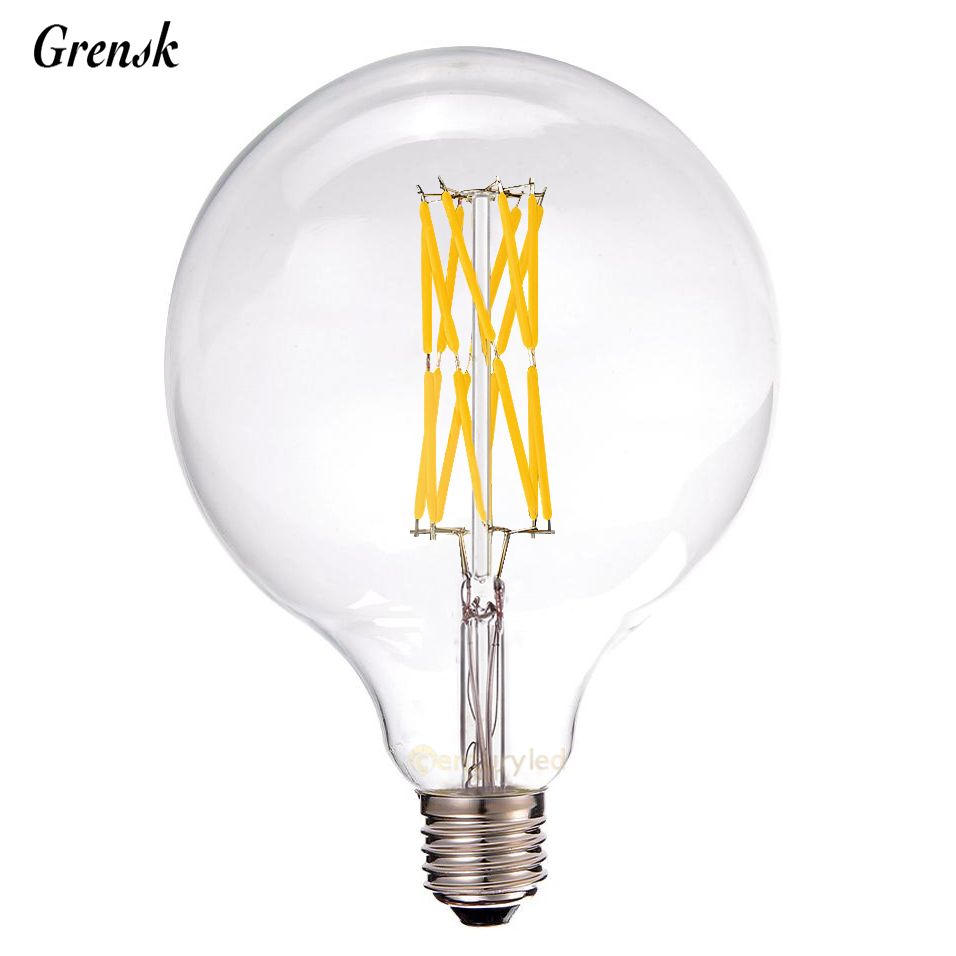 16W,LED Vintage Filament Bulb,G125 Edison Style,Super warm 2200K,110V 220V,Decorative Lighting,E26 E27 Medium Base