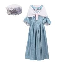 Halloween Vintage Pioneer Colonial Pilgrim Wench Rural Floral Prairie Dress Carnival Costumes for Women