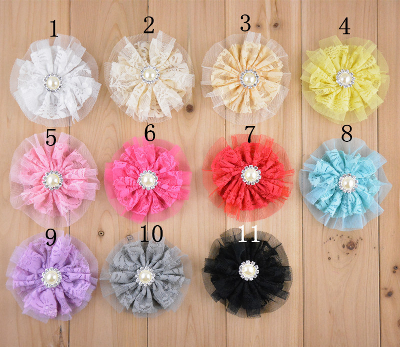 wholesale 100 pcs/lot , Double Layered Lace Flowers with pearl accent   3.5 inches  PICK COLORS-in Hair Accessories from Mother & Kids    2