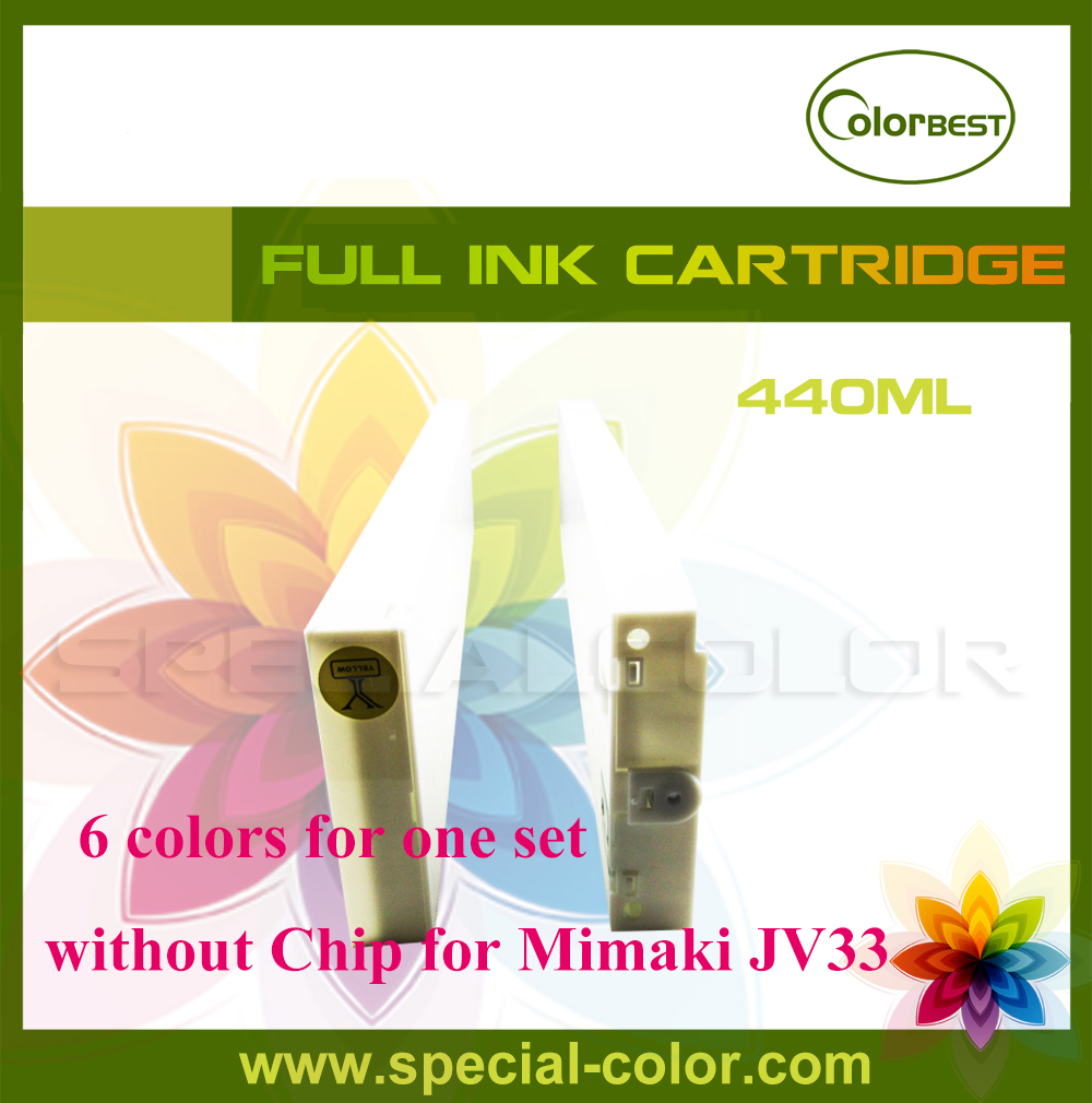 Mimaki JV33 eco solvent ink cartridge without chip 440ml 6 colors roland printer solvent ink cartridge tank with chip 440ml color lc