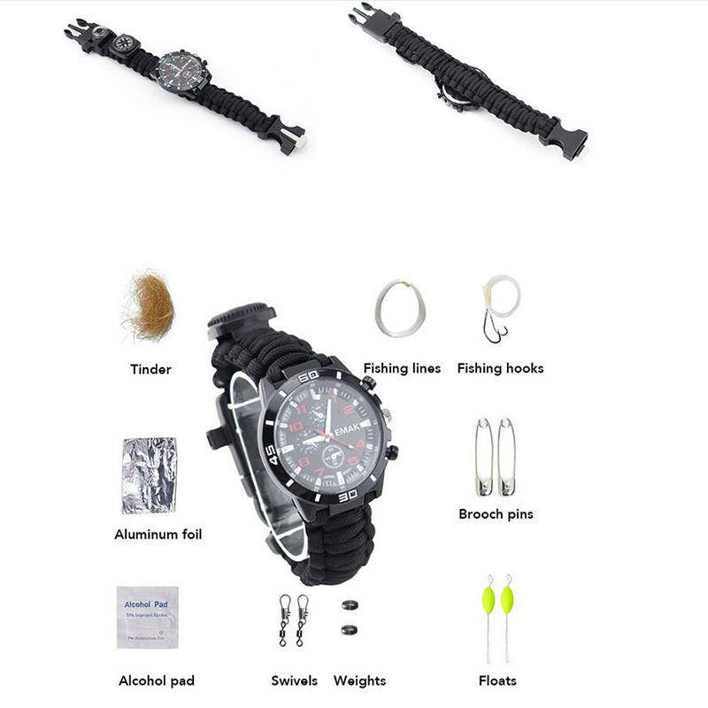 Men Wrist WatchTactical Multi Tools Outdoor Compass Camping Survival Bracelet Watch Compass Rescue Rope Equipment Compasss