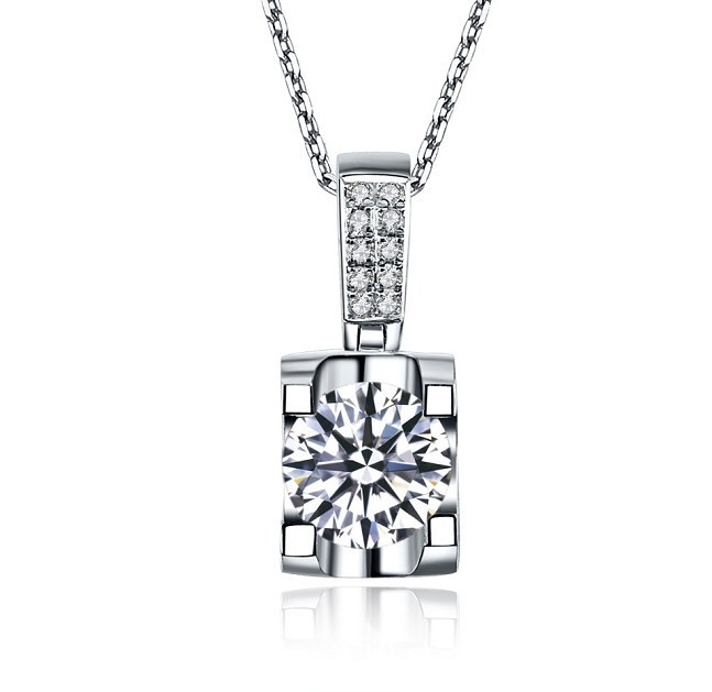 THREEMAN Vintage 1CT Solid White Gold Oxhead Style Necklace Synthetic Diamonds Gold 750 Pendant Necklace Best Women Jewelry Gift