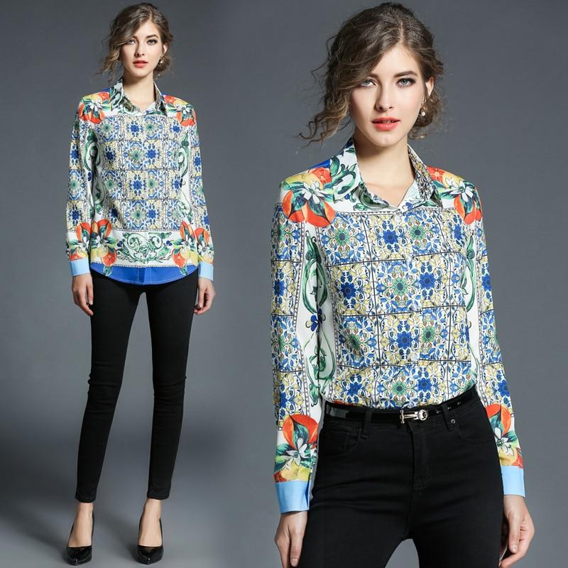 2018 New Casual Autumn Women Shirt Long Sleeve Turn down Collar Blouse Fashion Printing Female Tops
