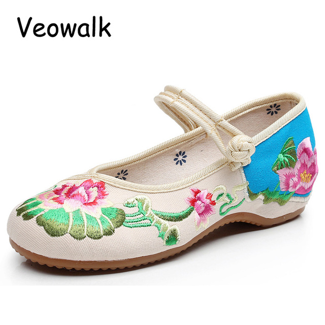 New Chinese Embroidered Women Canvas Mary Jane Flats Low Top Retro Elegant  Ladies Casual Soft Cotton Fabric Old Beijing Shoes