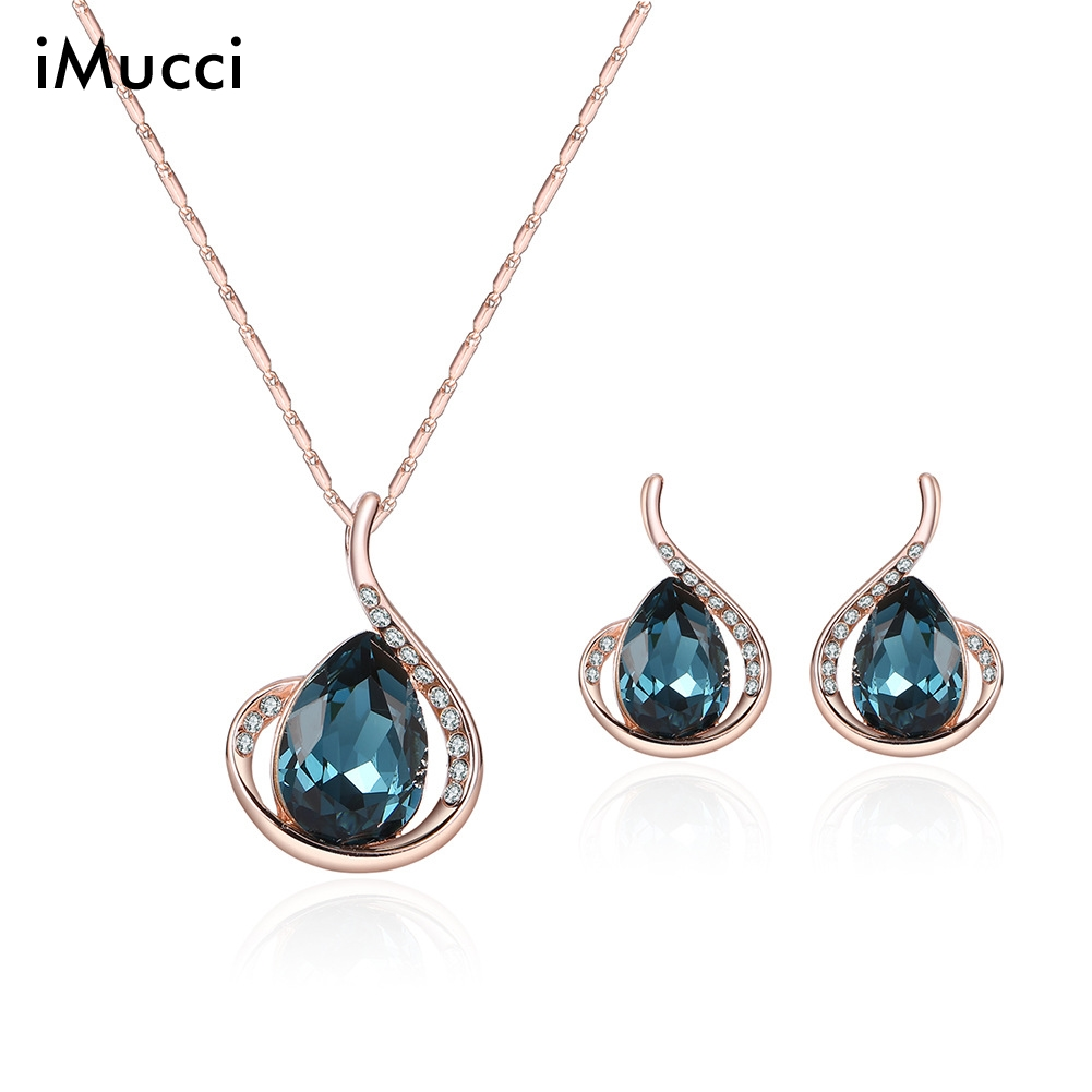 iMucci rose gold crystal Crystal necklace earrings set of two pieces of bride wedding jewelry set