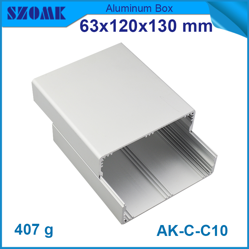 1 piece aluminum smooth junction housing case for electronics two case with endplates 63*120*130 mm project box aluminium aluminum electrolytic capacitor for diy project 120 piece pack