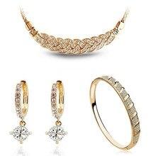 AAAA+ стразы, ожерелье, серьги, браслет, Модные Ювелирные наборы, Прямая поставка, бренд, высокое качество, подвески для женщин, классика