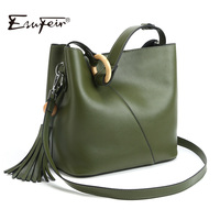 2018 ESUFEIR Brand 100% Genuine Leather Women Handbag Fashion Design Shoulder Bag Female Tassel Bucket Tote Bag Crossbody Bag