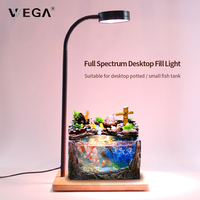 WEGA 9W Full Spectrum LED Growing Lamp With Bamboo Base Health Plants Lamp Dimmable Light 360 Degrees Lighting For Indoor Plants