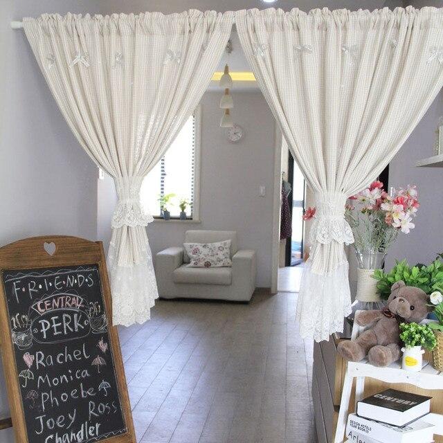 Neue Koreanische Beige Spitze Polyester Küche Vorhänge Bestickt Tür