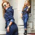 Новые Rompers Хлопка женщин Полный Рукав Случайные Свободные Комбинезоны женская Мода Синий Джинсовые Комбинезоны Джинсы С Поясами DS-30293