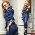 New Rompers Cotton Women's Full Sleeve Casual Loose Jumpsuits Lady's Fashion Blue Denim Overalls Jeans With Sashes DS-30293