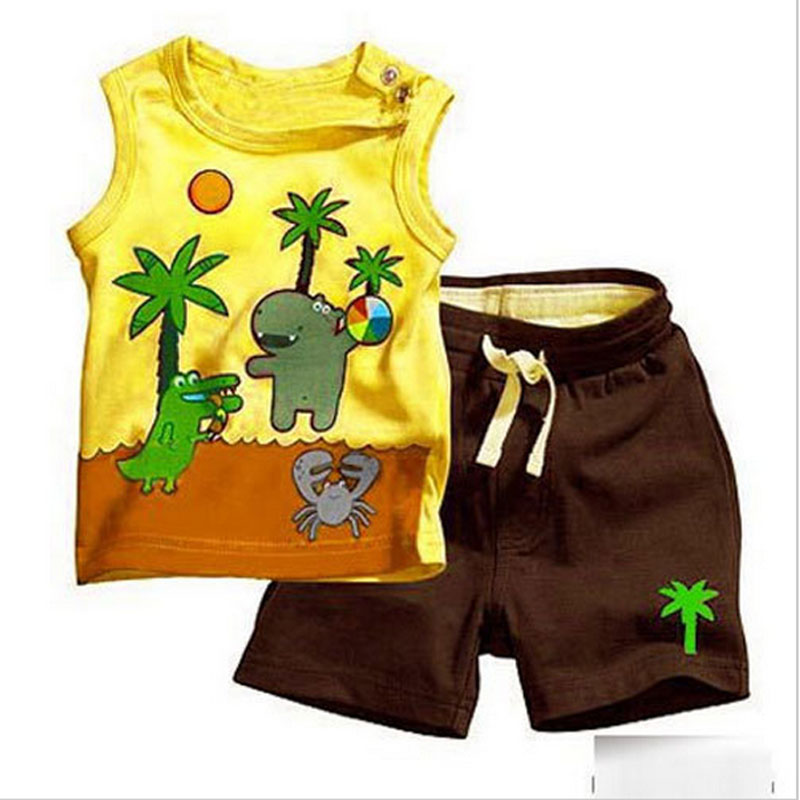 2016 summer newborn infant baby clothes set child boy outfit sports shorts suit for baby boys clothing brand cotton prints sets