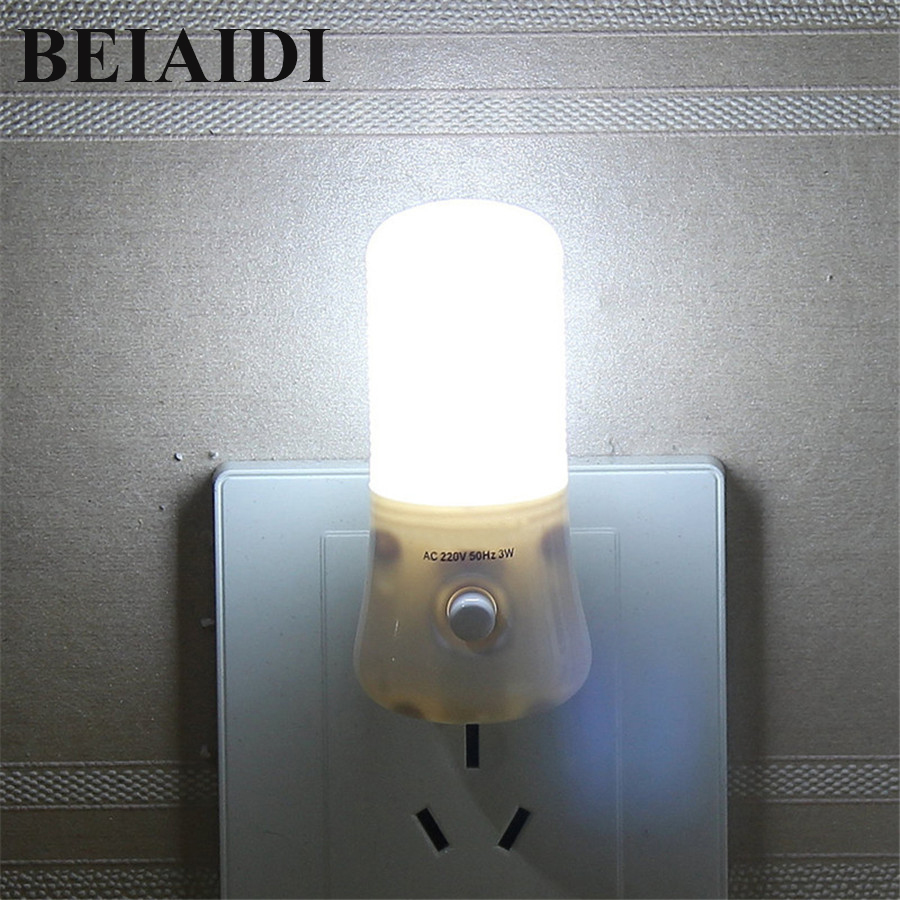 BEIAIDI Upgrade 3W LED Night Light With Switch 8LED Wall Socket Night Lamp Baby Bedroom Bedsides Lamp Bulb Backlight For Toile
