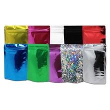 200Pcs /Lot 8.5*13cm Colorful ZipLock Stand Up Aluminum Foil Pouch Mylar Bags Resealable Doypack Food Packaging Zipper Bag