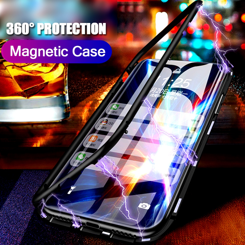 timeless design 8e96d f332c Magnetic Adsorption Flip Metal Phone Case For Oneplus 6 6T 5T Magnet  Tempered Glass 360 Full Cover One Plus 6 6T 5T Capa Fundas