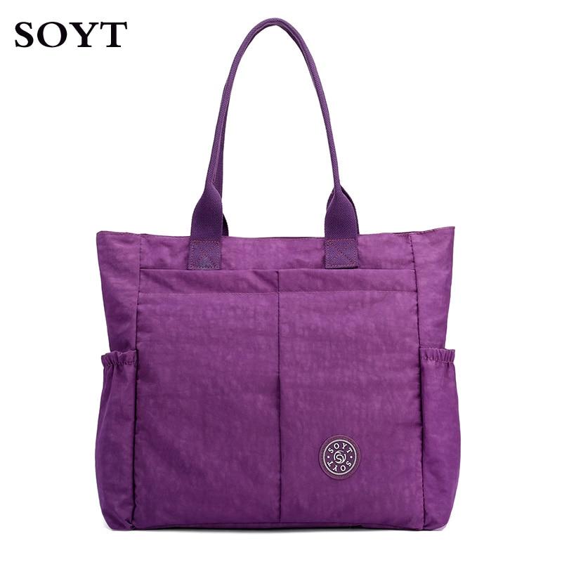 купить Fashion Women Handbag large capacity Shoulder Bag Nylon Casual Tote Famous Brand Purple Mummy Diaper Bags Waterproof Bolsas по цене 1004.32 рублей