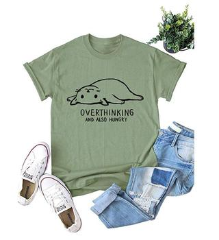 Summer Overthinking and also Hungry Graphic T-Shirt Not Today Cat Grunge Vintage Cat Slogan Tops Cotton Girl Tee love cat shirts