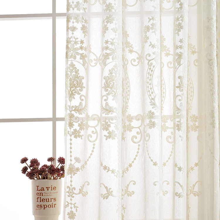 Monica Pastoral Tulle Yarn Sheer Gauze Yarn Mirror Balcony Curtains For  Living Dining Room Bedroom Partition