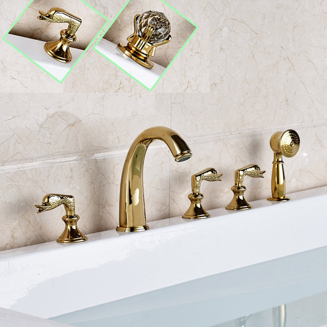Deck Mounted Golden Widespread Tub Faucet Three Handles Brass Roman Tub  Mixer Taps With Hand Shower