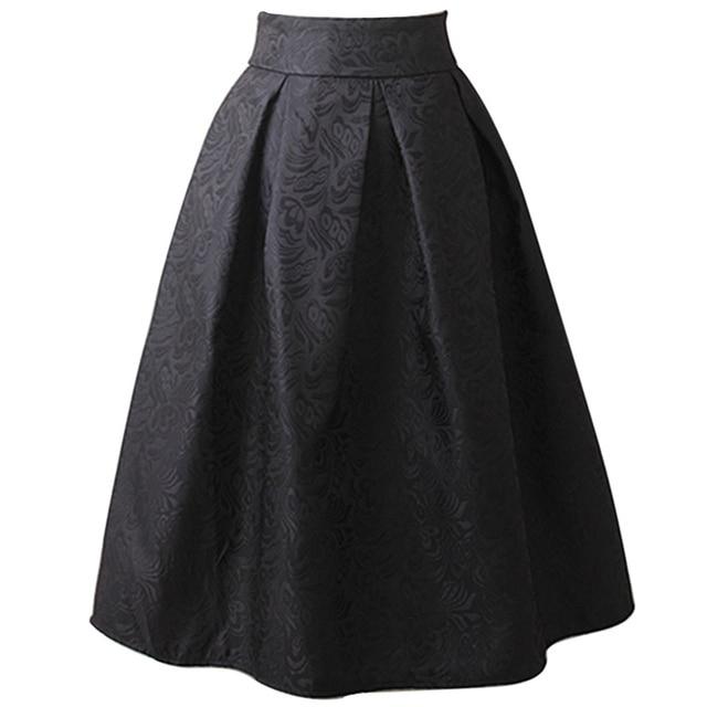 44c1d65357 Plus Size Skirt High Waisted Skirts 2018 Womens Knee Length Bottoms Pleated  Skirt Saia Midi Black Red