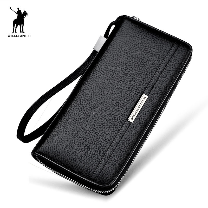 Brand Mens Long Purse Genuine Leather Zipper Clutch Wallet WILLIAMPOLO 2018 New Fashion Male Cowhide Wallet Gift Brown Black bvp high end brand 100% full grain cowhide genuine leather mens clutch wallet designer long purse with zipper closure j25