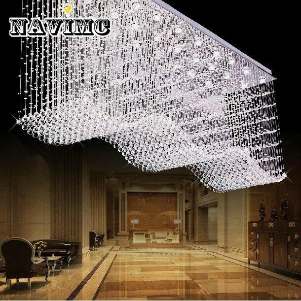 Large Modern Crystal Chandelier Rectangle Wave Design Hanging Chandeliers Lighting Fixtures