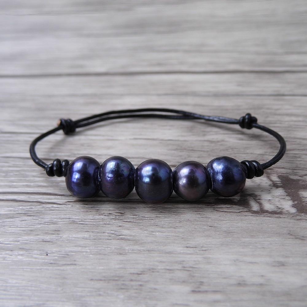 black real pearl bracelet leather wrap boho pearl bracelet. Black Bedroom Furniture Sets. Home Design Ideas