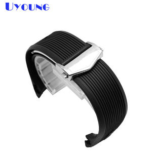 Rubber Watchband Belt Bracelet Buckle Silicone Silver for Men Watch-Accessories Folding