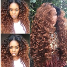 Ombre Brown Loose Curly Synthetic Hair Lace Front Wigs Dark Root and Brown Ombre Lace Full Wig For Black Women with baby hair