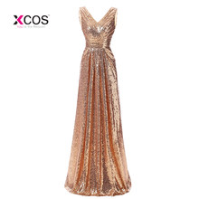 ce7fcdaa5cbf Champagne largo de dama de honor vestidos de cuello en V lentejuelas  plisado fiesta de boda