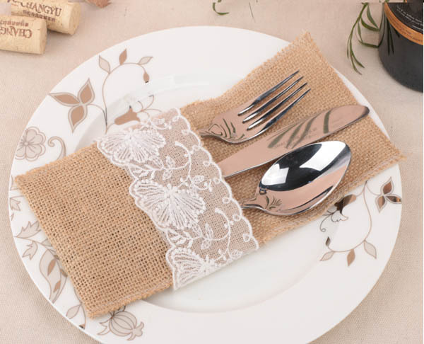 popular rustic country wedding table silverware holder natural burlap u0026 lace cutlery pockets jute hessian knife - Silverware Holder