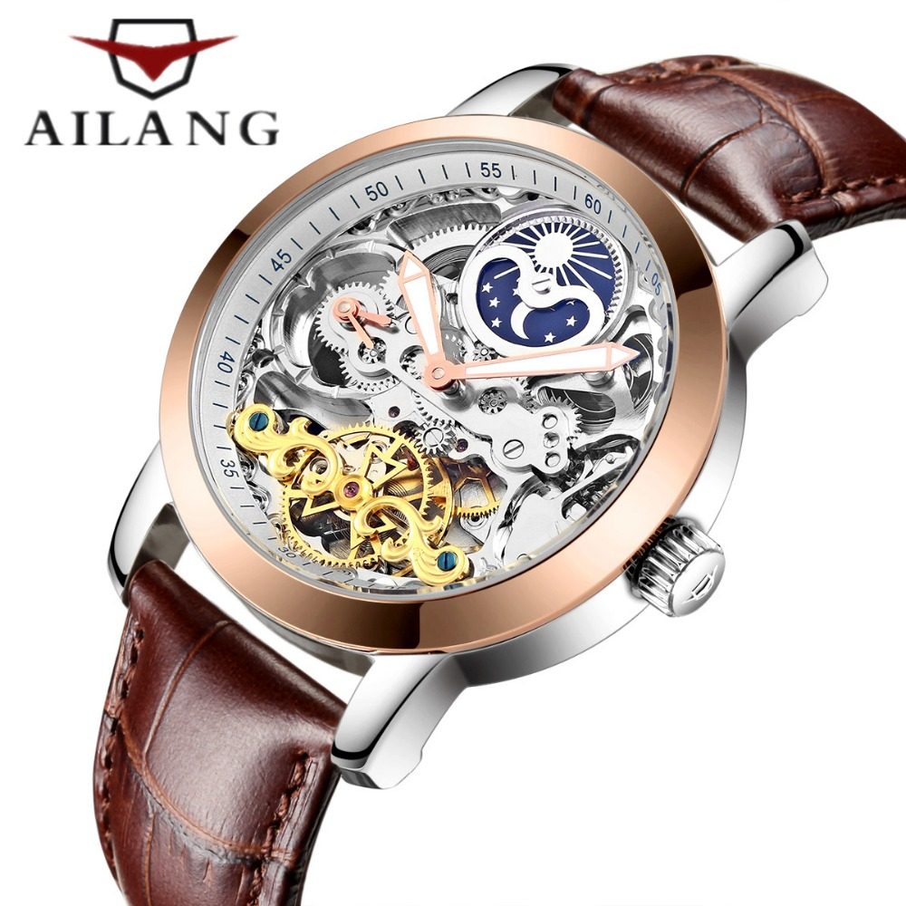 Skeleton Tourbillon Mechanical wind Men Watch AILANG Famous brand Wrist watch Automatic Mechanical Watch Relogio Masculino hot sale famous bp brand princess butterfly lady lucky clover watch austrian crystal automatic self wind wrist watch