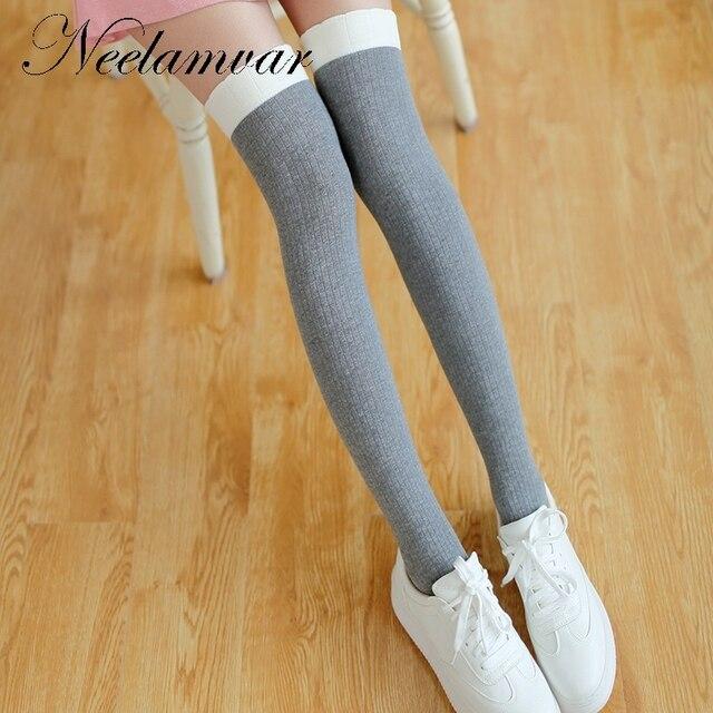84c34a79c Fashion Socks Sexy Women Girl Thigh High Over the Knee Socks Cotton  Stockings Student Japanese Stockings Vertical stripe socks