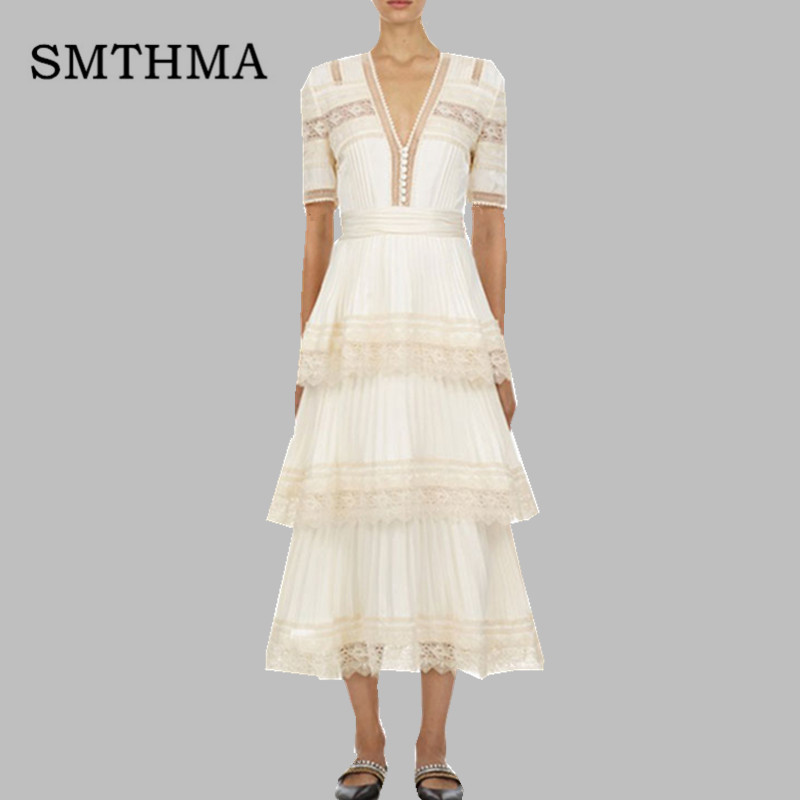 SMTHMA High Quality Newest 2019 Runway Maxi Dress Women's sleeveless Stunning Embroidery Gauze Patchwork Stacked cake Long Dress